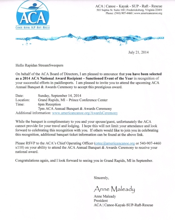 American Canoe Association Notification of Award